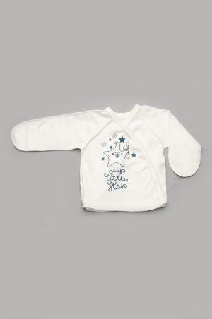 недорогая распашонка для новорожденного с закрытыми рукавами