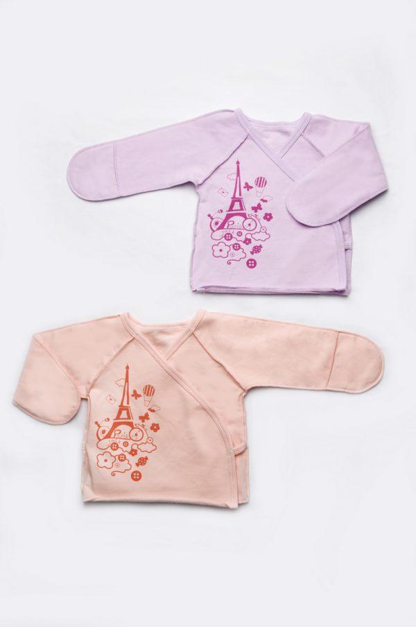 недорогая распашонка с закрытыми рукавами для новорожденной