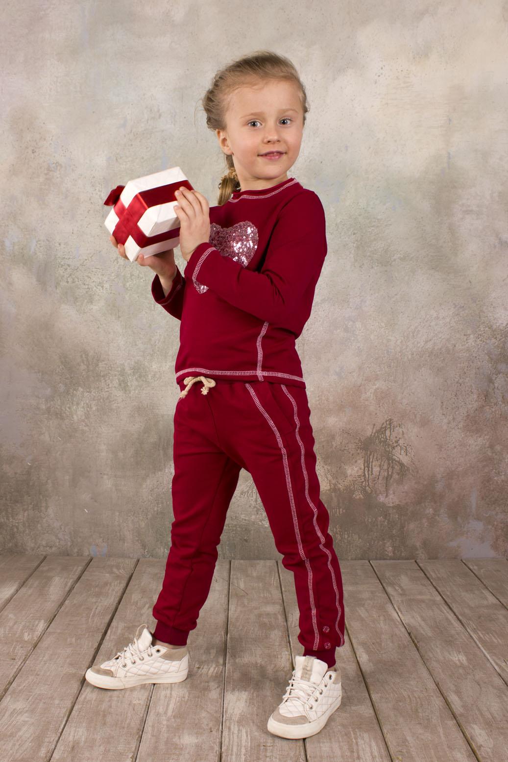 141b4013 Спортивные брюки для девочки из хлопковой ткани бордового цвета купить