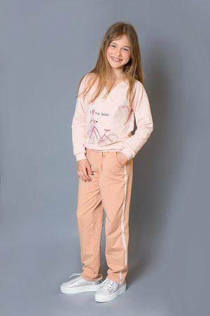 розовый реглан брюки пудра спортивные детские