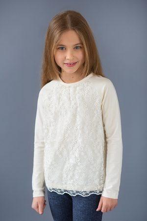 недорогая нарядная кофта для девочки с гипюром