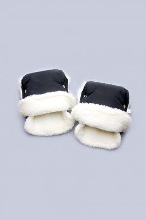 черные рукавицы на коляску на овчине купить недорого