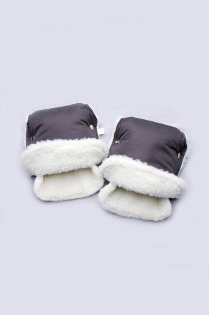 рукавицы для коляски на овчине графит купить Харьков