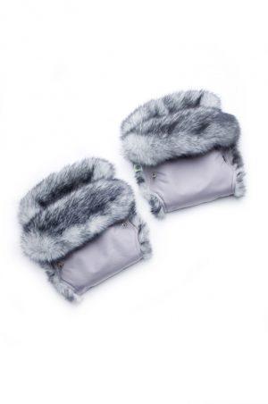 купить серые рукавицы опушка кролик на коляску