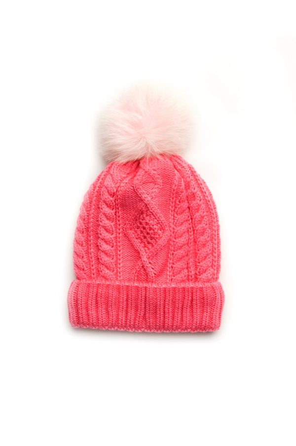 шапка для девочки малиновая с помпоном зимняя
