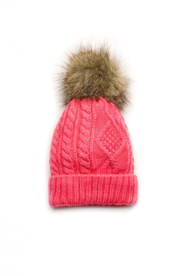 зимняя вязаная шапка для девочки с помпоном купить Киев
