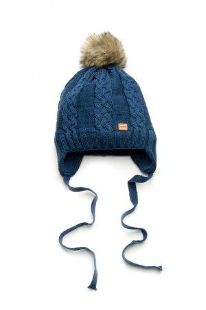 шапка на завязках с помпоном зимняя для мальчика недорого
