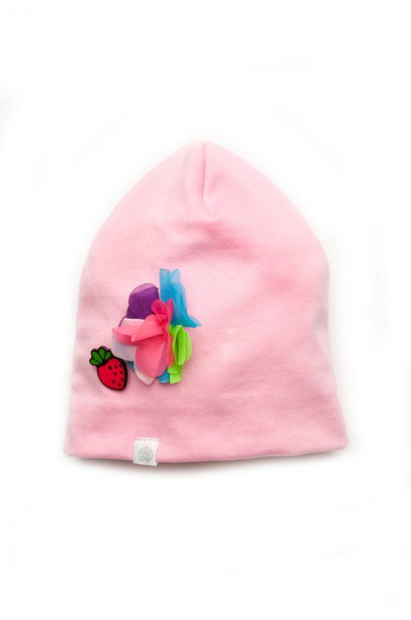 розовая шапка с декором недорого Киев