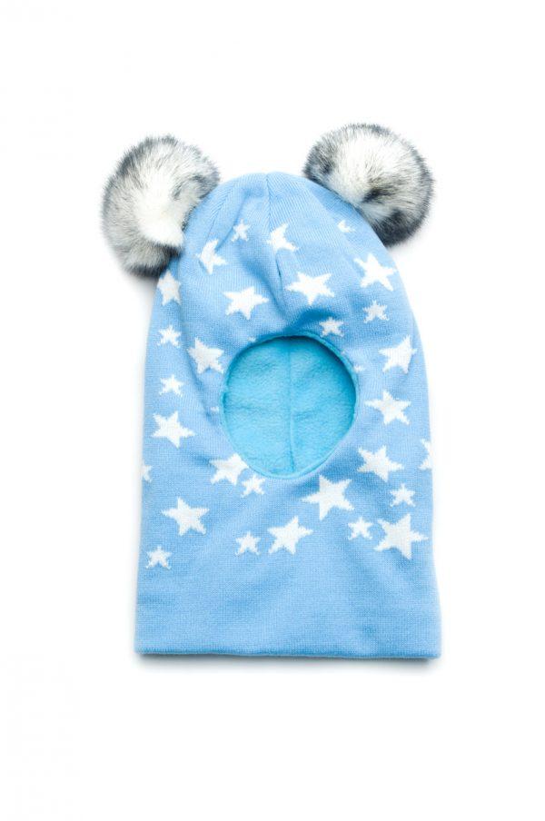 вязаная шапка шлем с помпонами для мальчика купить Харьков