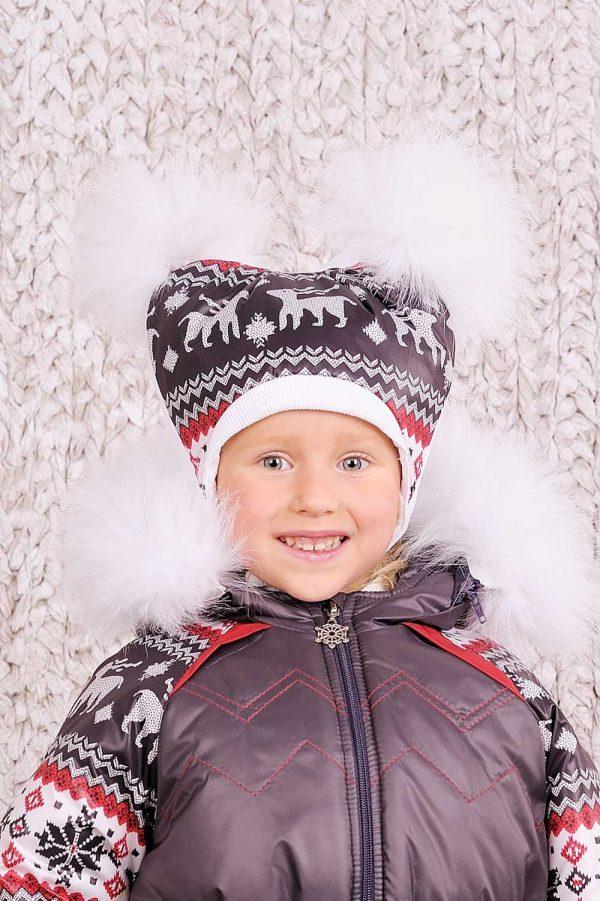 зимняя шапка с помпонами для девочки купить