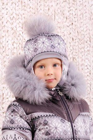теплая зимняя шапка для мальчика с помпоном