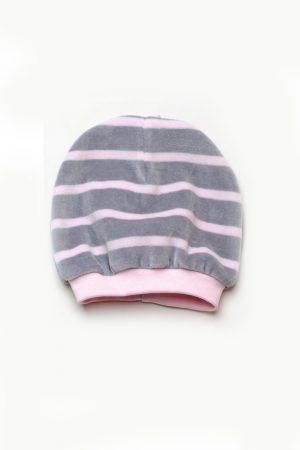 шапка велюровая в полоску для девочки недорого