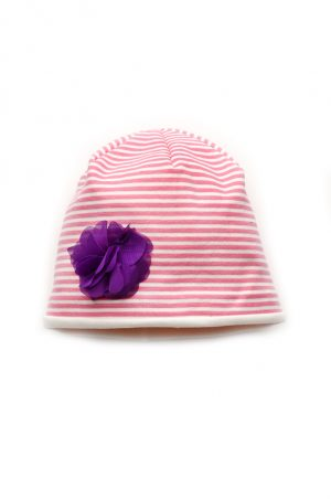 шапочка в розовую полоску с цветком купить Харьков
