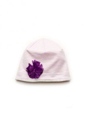 трикотажная шапка для девочки с цветком недорого