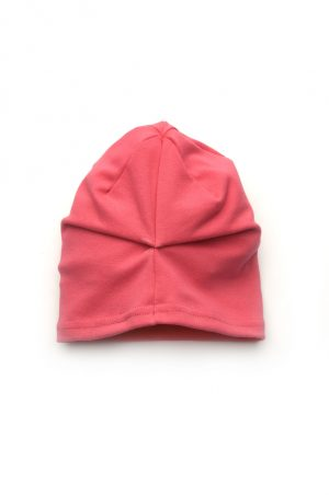 шапка со сборкой на затылке коралл купить недорого