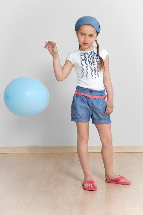джинсовые шортики футболка повязка косынка для девочки недорого с доставкой