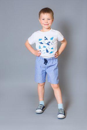 купить футболка акулы шорты в клетку для мальчика Киев