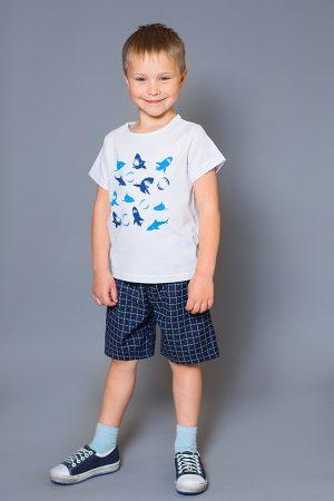 футболка акулы шорты в клетку для мальчика недорого