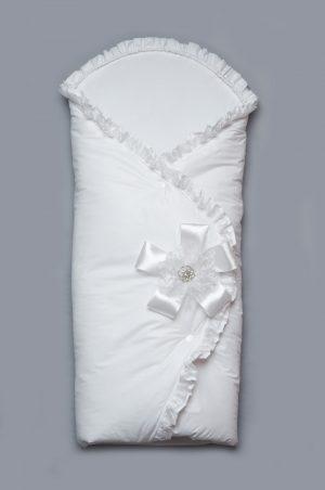демисезонный нарядный конверт одеяло на выписку для новорожденных