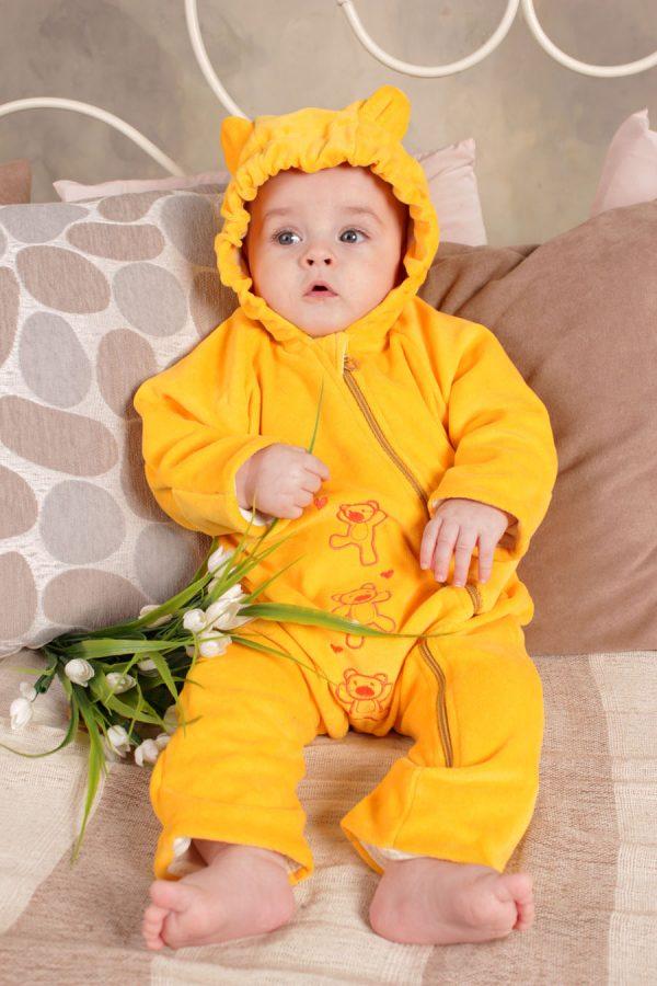 яркий желтый слингокомбинезон для новорожденных унисекс недорого