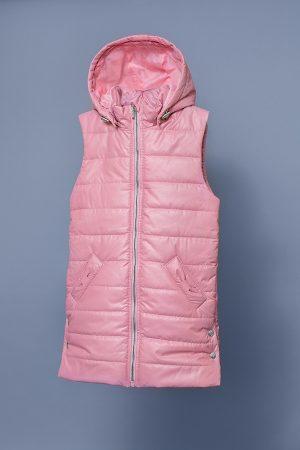 утепленная жилетка для девочки с капюшоном