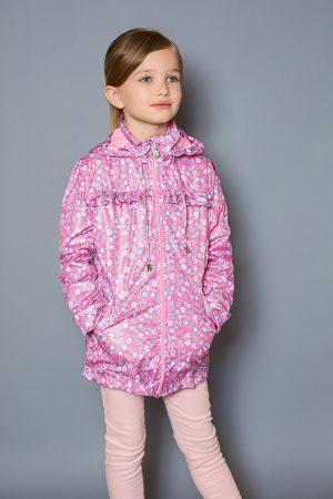 розовая ветровка на молнии для девочки