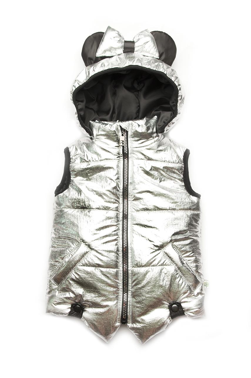 acf2fce9f6e Жилетка для девочки с ушками и бантиком на капюшоне серебряного цвета