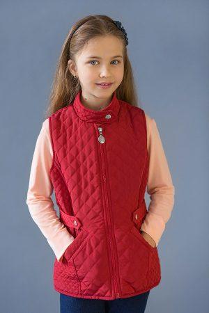 купить жилетка красная стеганная для девочки от производителя