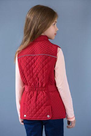 купить жилет стеганый красный для девочки