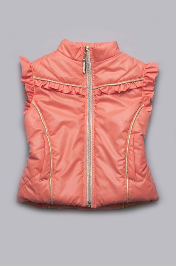 красивая жилетка для девочки короткая персик недорого