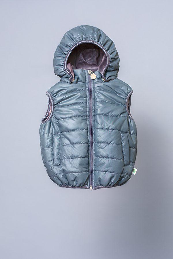 ba6ff4eb5b1 Детская утепленная жилетка для мальчика с капюшоном серая купить онлайн