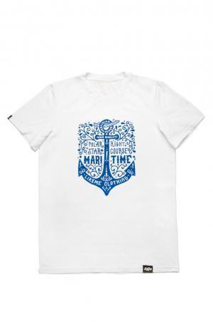 футболка мужская белая с якорем family look недорого