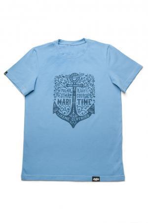недорогая футболка голубая с якорем family look