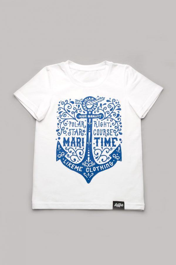 белая футболка с якорем для мальчика family look