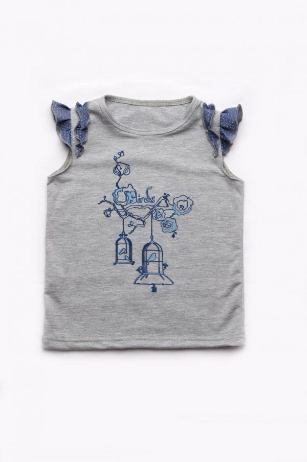 футболка для девочки летняя с отделкой