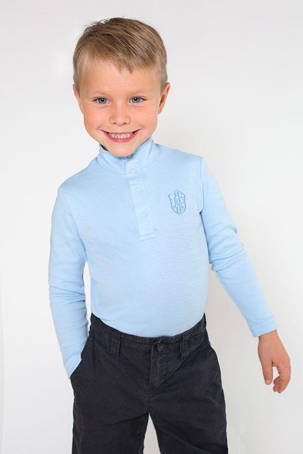 качественный гольф для мальчика голубой недорого