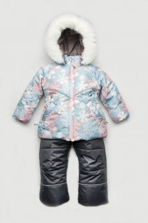 куртка зимняя снежинки и полукомбинезон зимний графит купить Днепр