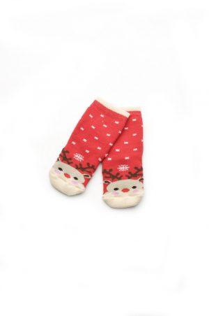 махровые носки красные с новогодней тематикой
