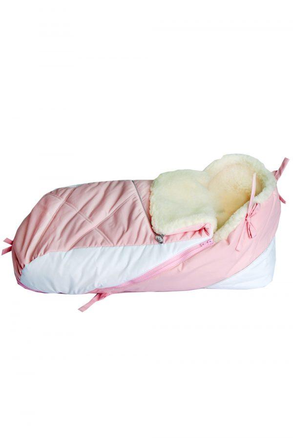 теплый конверт для санок бело-розовый недорого