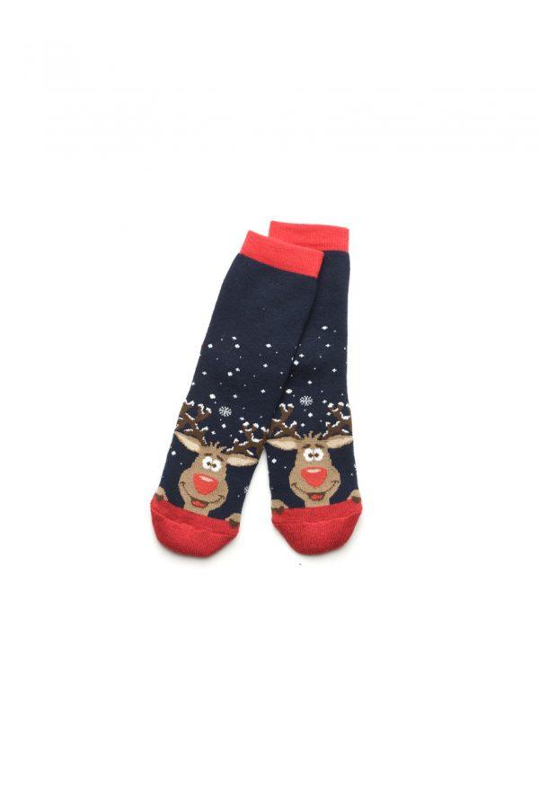 махровые носки с рождественской тематикой синие