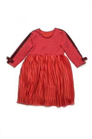 оригинальное платье с юбкой плиссе красное недорого
