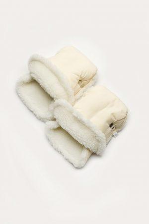 теплые рукавички на коляску молочного цвета недорого