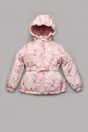 демисезонная куртка для девочки с розочками недорого