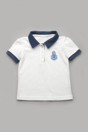 футболка поло белая с синим воротником для девочки купить
