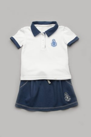 футболка поло белая юбка синяя для девочки доставка