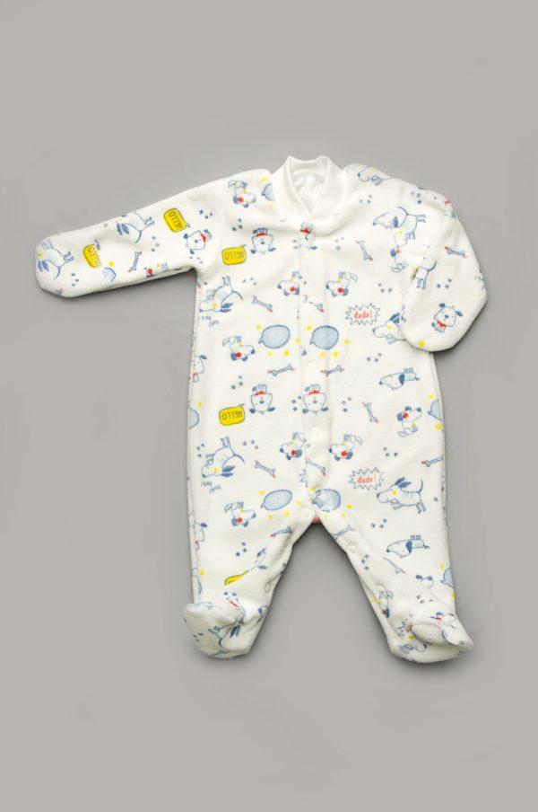 велюровый комбинезон человечек для новорожденного с закрытыми рукавами