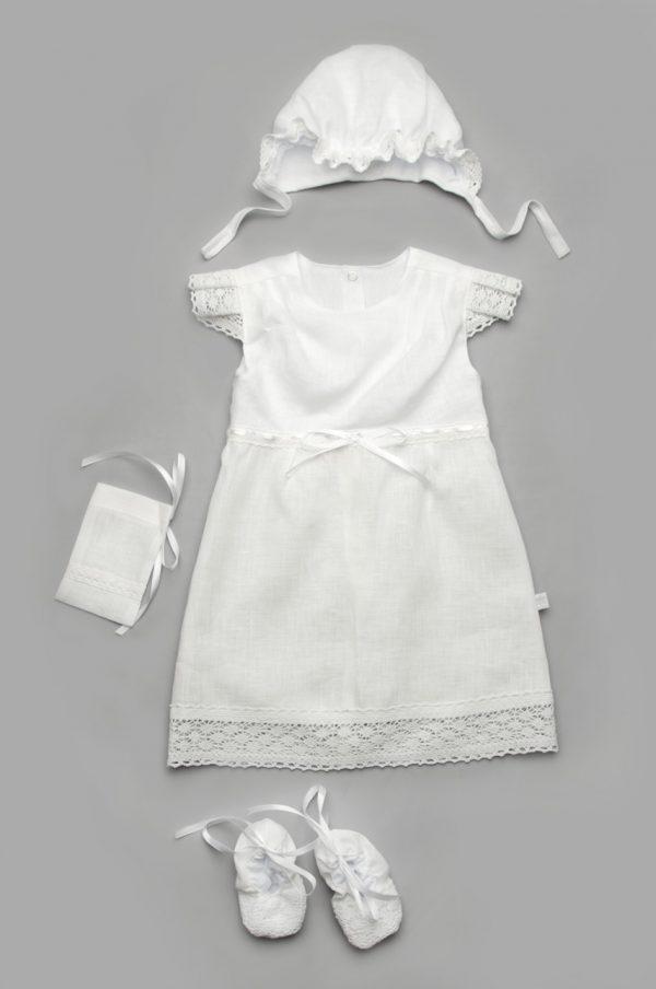 крестильное платье лен для девочки пинетки мешочек шапочка