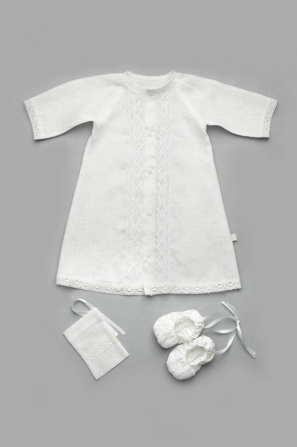 крестильная рубашка для мальчика белая лен