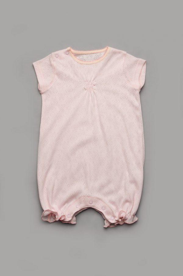 летний комбинезон песочник для девочки розовый купить недорого