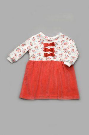 платье велюровое для девочки с бантиками недорого